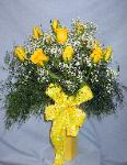 01C 12 Yellow Roses Arranged