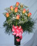 01F 12 Peach Roses Arranged